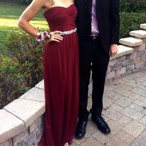 Red Strapless Homecoming/Prom Dress with Jewels